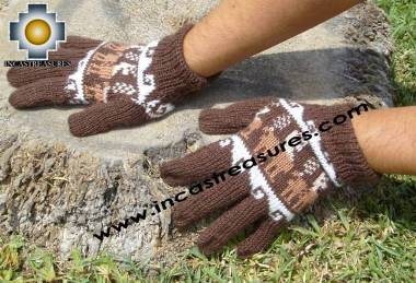 100% Alpaca Wool gloves with Llama Designs in Chocolate