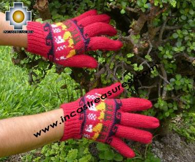 100% Alpaca Wool gloves with Llama Designs in Red