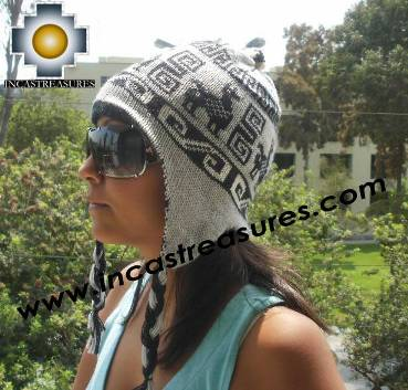 Alpaca Reversible  Chullo Hat  andean  waves  Ite