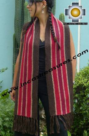 100% Alpaca Scarf 2 Sides with stripes Ollantaytambo