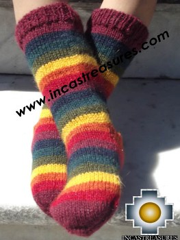 100% Children Alpaca Socks Rainbow