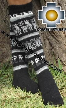 Long 100% Alpaca Socks Classic Black