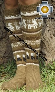 Long 100% Alpaca Socks Classic Camel