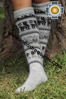 Long 100% Alpaca Socks Classic Silver Gray