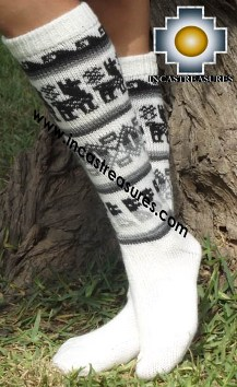 Long 100% Alpaca Socks Classic White