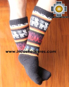 Long Alpaca Socks llamas black