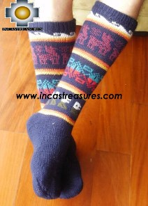Long Alpaca Socks llamas blue