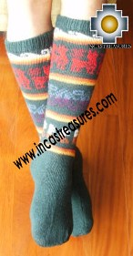 Long Alpaca Socks llamas green